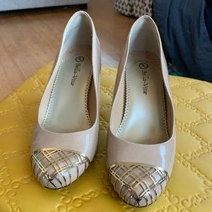 Nude Patent Leather Pumps with Gold Detail